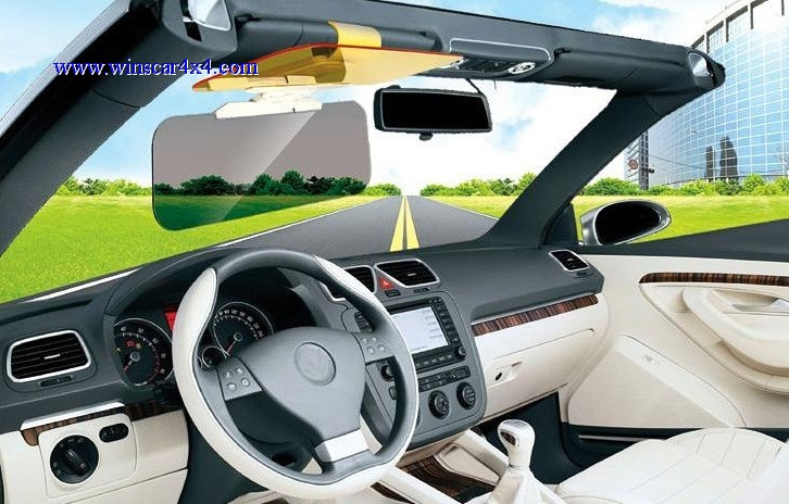 Sun Visor Mirror/Sunglasses and Night Driving Glass